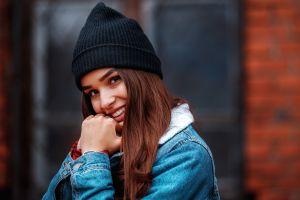 open mouth denim brunette women brown eyes jeans jacket smiling portrait