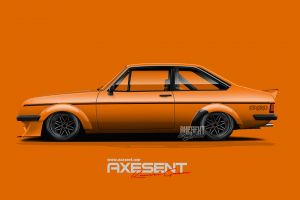 orange cars ford british cars side view render axesent creations