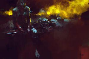 orc dark fantasy fantasy art warrior blood
