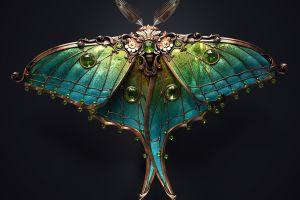 ornamented black background sasha vinogradova copper render jewel insect