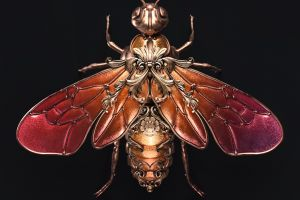 ornamented jewel insect render black background copper sasha vinogradova