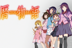oshino shinobu senjougahara hitagi anime girls white white skin hachikuji mayoi kanbaru suruga anime sengoku nadeko simple simple background monogatari series