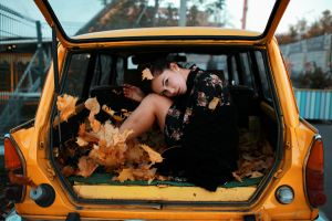 outdoors depth of field leaves women with cars looking at viewer dress hairbun inside a car sitting model brunette women side view car interior earring
