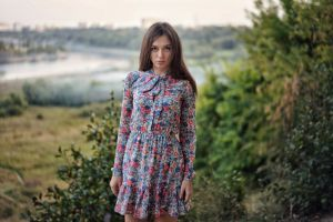 outdoors depth of field looking at viewer women brunette women outdoors painted nails portrait dress model bushes