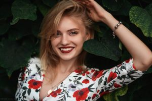 outdoors leaves katrin enina photography teeth women outdoors touching hair smiling blonde face looking at viewer women victor sidorenko bracelets bokeh