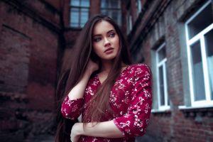 outdoors lenar abdrakhmanov women outdoors brunette dress long hair depth of field model women looking into the distance portrait