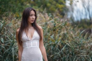 outdoors model necklace depth of field looking away women outdoors brunette women dress cleavage portrait white dress brown eyes vladimir talantcev