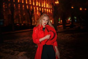 outdoors red lipstick coats blonde depth of field women outdoors hat looking at viewer alexander drobkov black pants night women with hats women red coat lights
