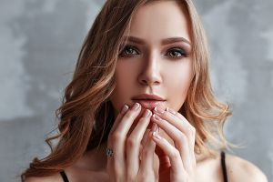 painted nails vlad popov women portrait depth of field looking at viewer face hands blonde women indoors bokeh model