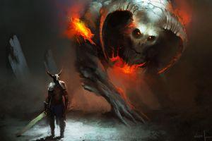 painting artwork fire helmet drawing creature warrior illustration horns fantasy art digital art armor sword clash demon