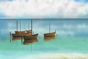 painting boat digital art warm colors reflection clouds horizon sea