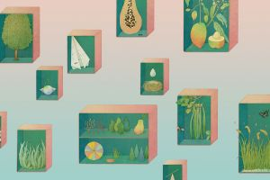 painting paper planes pink background artwork plants trees