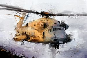 painting vehicle helicopters digital art illustration shuolin liu mh-53 pave low artwork