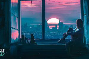 painting window aenami digital art fantasy art sunset city suicide sheep women