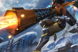 paladins: champions of the realm women armor xiao guang sun sniper rifle gun winter kinessa (paladins)