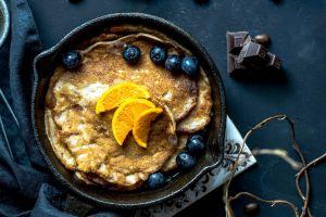 pancakes food fruit blueberries chocolate