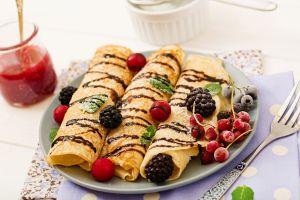 pancakes fruit berries food fork