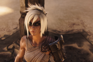 pc gaming realistic render riven (league of legends) league of legends blonde video game girls