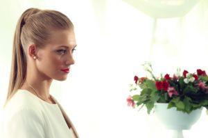 pearl earrings ponytail russian women actress blonde women