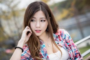 pearl necklace brunette women asian photography looking away plaid shirt model red lipstick open shirt open mouth women outdoors long hair