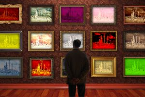 people colorful picture frames wall galleries