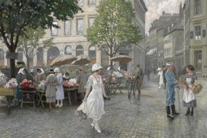 people painting classical art city paul gustav fischer artwork women