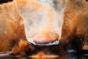 peugeot water racing splashes rally rally cars brown mud car