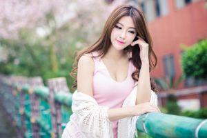 photography asian dyed hair women model brunette pink dress long hair looking away pink lipstick smiling