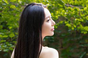 photography asian model women long hair brunette women outdoors