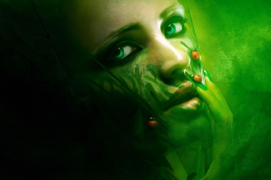 photography ladybugs women face green eyes green background