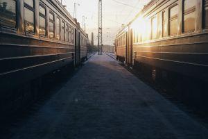 photography sunlight train station outdoors railway station vehicle urban train