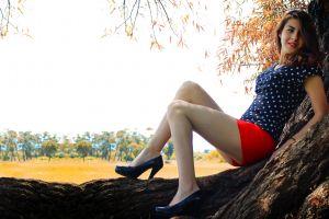 photography women legs model brunette high heels shorts