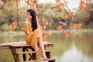 pier barefoot fall women photography leaves long skirt brunette asian model yellow dress long hair