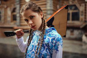 pigtails portrait ksenia kokoreva yuriy lyamin women women outdoors