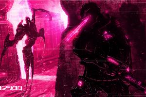 pink digital art gun soldier fictional creatures magenta