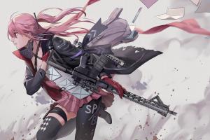 pink eyes assault rifle girls frontline ar15 (girls frontline) pink hair girls with guns thighhighs