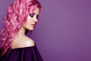pink hair simple background model