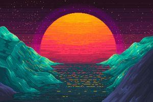 pixel art digital art neon sunset