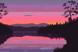 pixel art nature clouds pixels lake trees wavestormed sunset landscape pixelated reflection digital art
