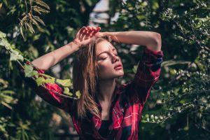 plaid shirt shirt arms up leaves portrait model women closed eyes