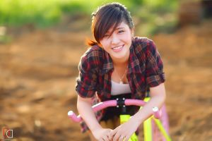 plaid shirt women asian asian depth of field model bicycle brunette looking at viewer smiling