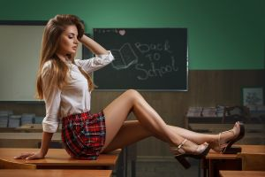 plaid skirt brunette women indoors women closed eyes high heels long hair sitting classroom schoolgirl uniform white shirt