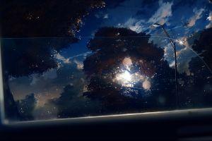 planes car interior anime grasoso anime anime grasoso street light dark trees sky