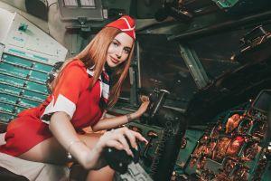 planes cockpit women anton harisov stewardess red red dress brunette sitting portrait smiling