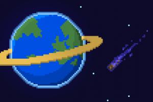 planetary rings pixel art space stars pixels universe comet pixelated planet blue background earth digital art