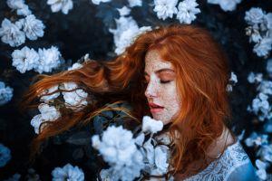 plants women flowers redhead freckles face model closed eyes women outdoors profile long hair portrait lipstick