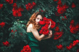 plants women red flowers flowers
