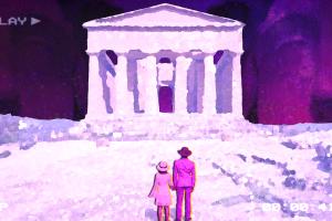 play white dress back purple background vaporwave ruins hat retrowave