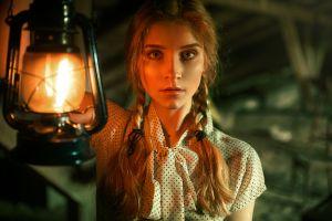 portrait blonde gas lamps pigtails women