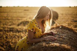 portrait cleavage summer  dress red nails long hair hay sideboob women outdoors blonde yellow dress women